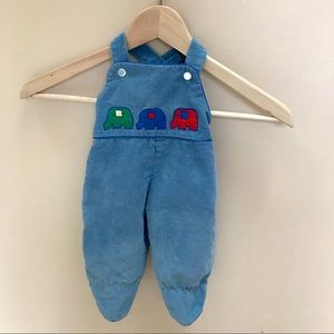 Vintage corduroy appliqué footed overalls. EUC
